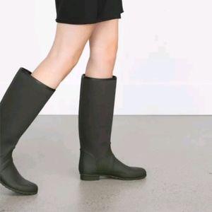 Zara Olive Green Equestrian Rubber Rain Boots NEW